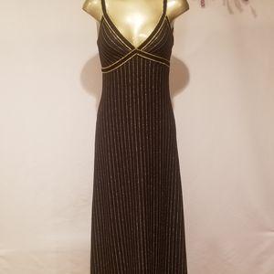 VINTAGE 1970s GIAMO KNIT BLACK & GOLD MAXI DRESS